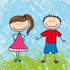 12493228-cute-boy-and-girl-sketch-background-illustration-Stock-Vector-family-cartoon-boy
