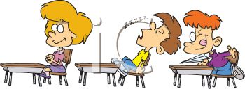 0511-1001-2706-2218_Boy_Sleeping_in_Class_with_a_Bully_and_the_Teachers_Pet_clipart_image